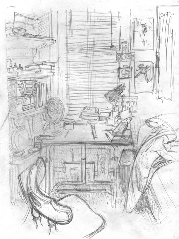 Room Drawing Pencil: O, Messy Bedroom